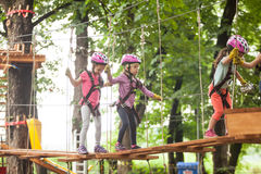 The obstacle course in adventure park Stock Photos