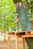 The obstacle course in adventure park Royalty Free Stock Photography