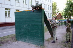 Obstacle course in the cadet corps. MOSCOW, RUSSIA - MAY 26,2014:Obstacle course in the cadet corps royalty free stock photo