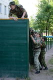 Obstacle course in the cadet corps. MOSCOW, RUSSIA - MAY 26,2014:Obstacle course in the cadet corps stock image