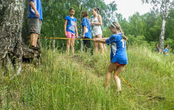 The obstacle course at a tourism Convention in the Kaluga region of Russia. Royalty Free Stock Images
