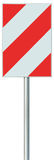 Obstacle detour barrier road sign on pole post, red, white diagonal striped vertical traffic safety warning signage, isolated Royalty Free Stock Image