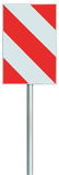 Obstacle detour barrier road sign on pole post, red, white diagonal striped vertical traffic safety warning signage large closeup Royalty Free Stock Photography
