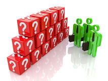 Obstacle in the form of wall cubes questions. At registration information related to the problems and issues Stock Photo