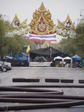 Obstacle on Rajadamnern road - Thailand conflict Royalty Free Stock Photo