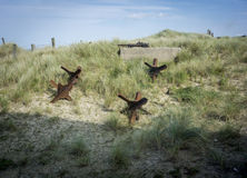 Obstacles de la défense de plage de l'Utah Photos libres de droits