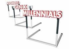 Obstacles de tranches d'âge de la génération X Millennials de baby boomers Image stock