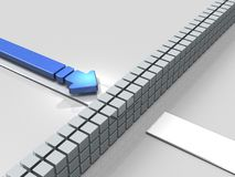 Obstacles to the course. An Arrow represent stagnation. Obstacles to the course. An Blue Arrow represent stagnation. 3D illustration Stock Images
