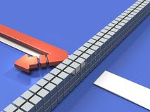 Obstacles to the course. The arrow turns back.. Obstacles to the course. The arrow turns back. It represents abandonment. 3D illustration Royalty Free Stock Images