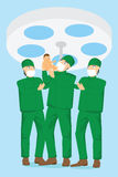 Obstetrician team and doctor holding a baby in the delivery room Royalty Free Stock Photo