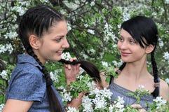 Zwei junge schöne Frauen im Früjahr Stockfotografie