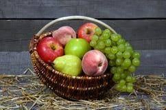 Obstkorb auf hölzernem Hintergrund Stockfoto