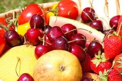 Obstkorb, Fruchternte lizenzfreie stockbilder
