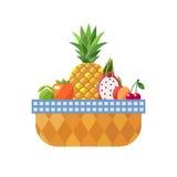 Obstkorb lokalisiert (Kalk, Persimone, Ananas, Drachefrucht, Pfirsich und Kirsche) Modernes flaches Design Stockfotografie