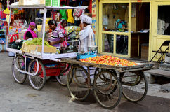 Obstmarkt-Laufkatzen, Deogarh, Indien Lizenzfreie Stockfotografie