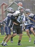 Obstrução do lacrosse do Mens Imagem de Stock Royalty Free