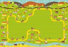 Obstrua o trajeto na cidade com os povos felizes dos desenhos animados ilustração royalty free