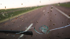 Obstructed windshield with bugs and cracks. Bugs cover a broken windshield with a blurry highway in the background Royalty Free Stock Photography
