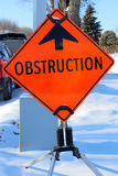 Obstruction Ahead Sign in Winter.  stock photo