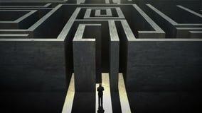 Obstruction du labyrinthe énorme devant l'homme d'affaires illustration stock