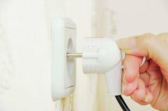 Obstruindo o cabo elétrico Foto de Stock