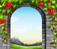 Obstruir-se com rosas Foto de Stock Royalty Free
