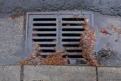Obstruiu um dreno da rua durante uma tempestade da chuva Fotografia de Stock