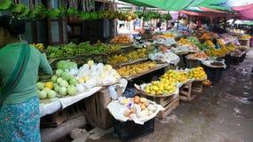 Obstverkäufer auf einem birmanischen Markt lizenzfreie stockfotos