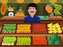 Obstverkäufer in einem Landwirtmarkt vektor abbildung
