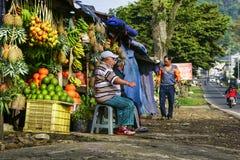 Obstverkäufer warten auf Kunden lizenzfreie stockfotografie