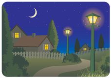 obszarów wiejskich krajobrazowa noc Zdjęcie Stock
