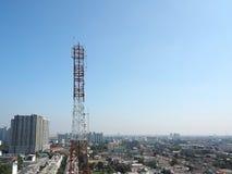 obszar miasta dmitrov nocy Moscow tower telekomunikacyjnych zimy Obraz Stock
