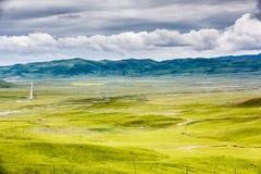 Obszar trawiasty i chmury fotografia stock