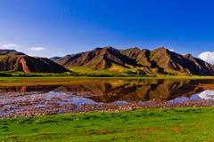 Obszar trawiasty, rzeka i góra, Zdjęcia Royalty Free