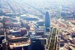 Obszar zamieszkały Agbar i Torre Barcelona w Hiszpania Zdjęcie Royalty Free