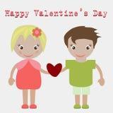 obszyty dzień serc ilustraci s dwa valentine wektor Urocza dziewczyna i chłopiec bierze fotografię Zdjęcia Royalty Free