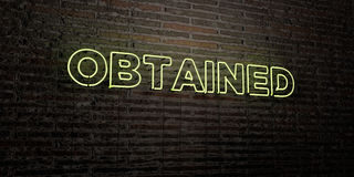 OBTAINED -Realistic Neon Sign on Brick Wall background - 3D rendered royalty free stock image Stock Photo