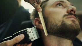 Obtendo a forma perfeita Opinião lateral do close-up o homem farpado novo que obtém o corte de cabelo da barba pelo cabeleireiro  video estoque