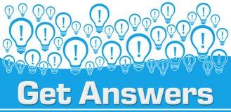 Obtenez à des réponses les ampoules bleues de fond sur le dessus illustration stock