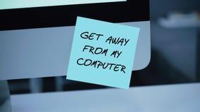 Obtenez à partir de mon ordinateur L'inscription sur l'autocollant sur le moniteur illustration stock