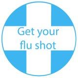 Obtenez à votre vaccin contre la grippe l'insigne vaccinique de signe avec l'icône bleue d'injection de seringue Illustration de  illustration stock