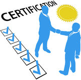 Obtenez certifié gagnent le document officiel de certification Photographie stock