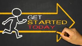 Obtenha começado hoje Imagens de Stock Royalty Free