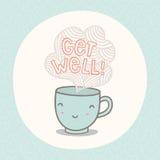 Obtenha o cartão bom com o copo de sorriso bonito Imagem de Stock