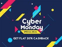 Obtenha o cashback de 30% na venda de segunda-feira do Cyber Cartaz ou proibição da propaganda ilustração stock