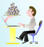 Obtenha o dinheiro no negócio em linha Fotografia de Stock Royalty Free