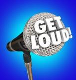Obtenha palavras altas do microfone falam a volta acima do volume seja ouvido para fora Imagem de Stock Royalty Free
