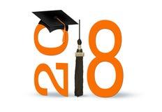 Obtention du diplôme 2018 avec le chapeau et l'orange noirs Images libres de droits