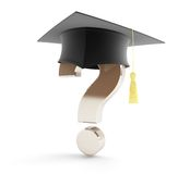 Obtention du diplôme d'école sous un point d'interrogation Image libre de droits