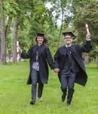 Obtention du diplôme heureuse Image libre de droits